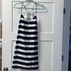 Navy and white striped summer dress